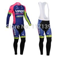 NEW! 2014 lampre Team Thermal Fleece Cycling Clothing/Cycling Wear/Long Sleeve Cycling Jersey (BIB) Suit-1G Free Shipping!