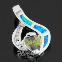 Green Peridot Pacific Blue Fire Opal Silver Fashion  Jewelry Women & Men Pendant OP746LS Wholesale & Retail