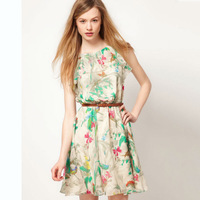 2014 New Style European Hot Sale Brand Fashion Casual Flower Chiffon elegant Women Summer Dress with belt free shipping WT064