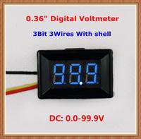 """Blue Display led Color with shell DC0-100V 0.36"""" Digital Voltmeter 3 wires 3bit Voltage Meter [10 pcs/lot]"""
