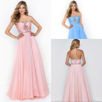 Most Modest A Line Halter Floor Length Chiffon Low Back Sexy Prom Dress Beaded Free Shipping Cheap Pro Gowns