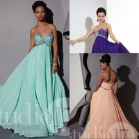 Empire Waist A Line Sweetheart Prom Dress Floor Length Chiffon Crystal Beaded Long Prom Gowns