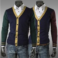 2 Colors New Brand Korean Autumn Men Sweater Patchwork Color Male V Neck Stylish Design Cotton Casual Mens Sweaters AX374 M-2XL