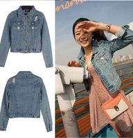 New Autumn Ladies Denim Jacket Outwear Jeans Coat Casual Jackets Jeans With Button Hole Slim Women Crop Tops Short  Blouse A039