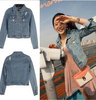 New Autumn Ladies Denim Jacket Outwear Jeans Coat Casual Jackets Jeans With Button Hole Slim Women Crop Tops Short  Blouse A039