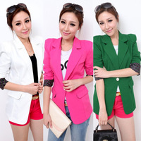 2014 Spring - Autumn New Fashion Brand Women's Slim Candy white/red/green Color Whith One Button Blazer Jacket Suits For Women