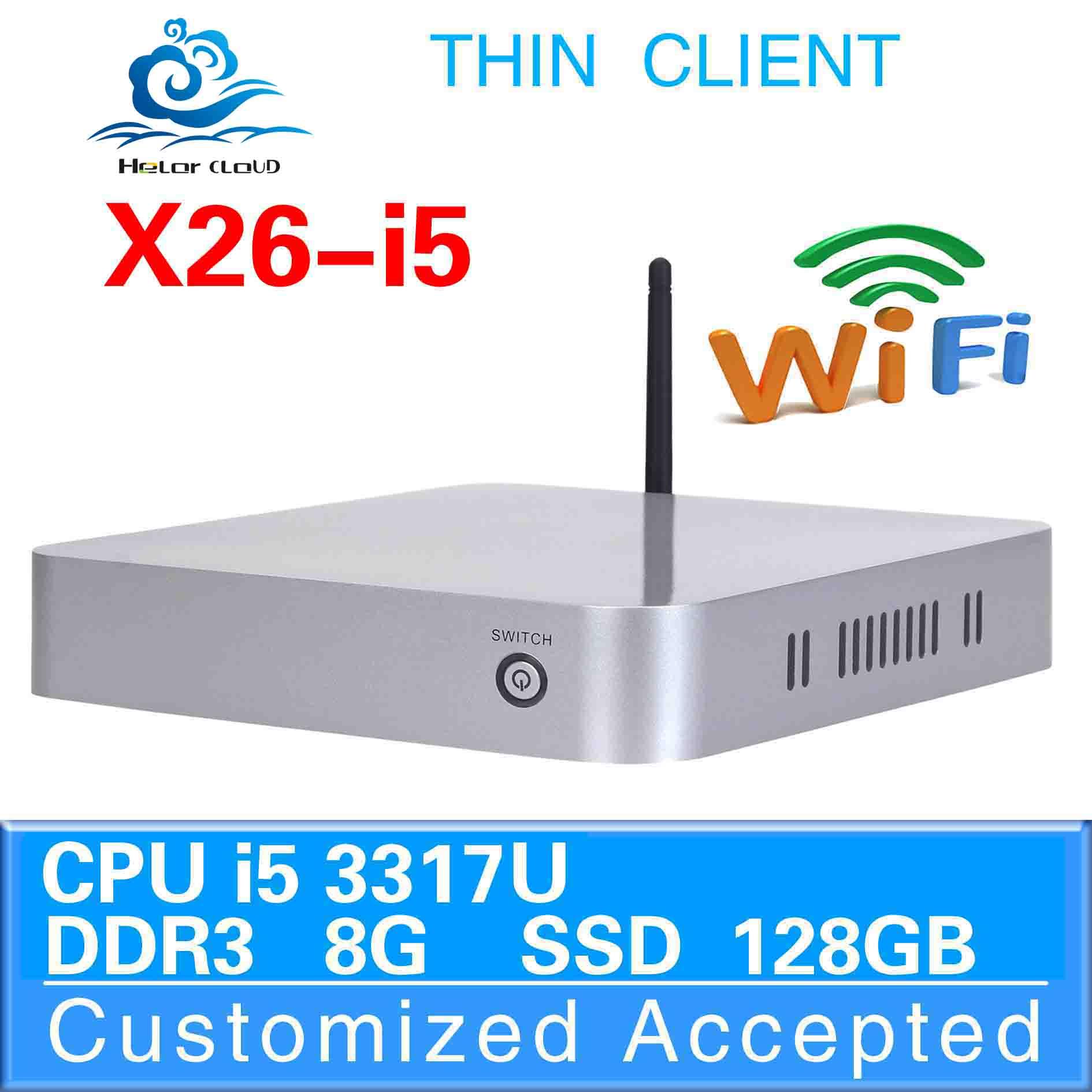 industrial PC computer thin client mini pc linux hdmi X26-I5 8GB RAM 128GB SSD support Linux, Windows 95 ,Windows XP etc.(China (Mainland))