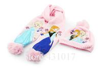 Wholesale Wool fabric children scarf for girls autumn winter children scarves set baby kids 2 pcs scarf+hat 3-10 Age,ZL140724