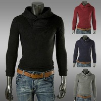 In the fall of 2014 new Lapel button decorative men's head of knitted sweater