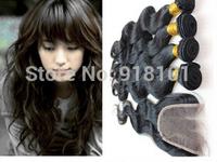 1PC Top Closure Body Wave With 3 Bundles Virgin Brazilian Hair Weft,4Pcs Lots Virgin Hair Shipping Free By DHL