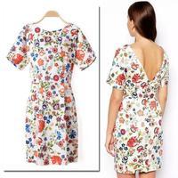 2014 Trendy Chic Women Vintage Floral Flower Print V Back Short Sleeve Bodycon Dress