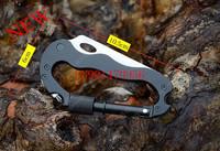 5 In 1 Black Carabiner Clip & Pocket Knife Folding Multitool For Camping Hiking Hunting Outdoor karambit ganzo tools