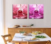 2 Panel modern wall art home decoration frameless oil painting canvas prints pictures P669 abstract cherry in water paintings