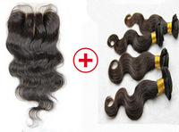 6A Queen love Malaysian Virgin Hair Body Wave 1 Piece Lace Top Closure with 3Pcs Hair Bundle,bleached knots