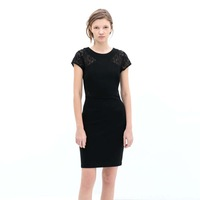 2014 Lady's  Fashion Clothing Straight Tube Women Dress Slim Lace Decorated Party Dresses Black