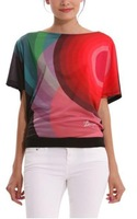 2014 Women's Printed T-shirt Desigual exaggerated geometric elegance brand new