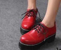 flat platform heels HARAJUKU women shoes 2014 new fashion round toe lace-up thick heels platform shoes  108-2 free shipping