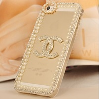 For  for iphone   5 pearl claw chain for  for apple   5s rhinestone phone case shell diy rhinestone pasted protection case
