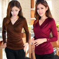 women plus size t shirt 2014 autumn new fashion casual work wear folds button v neck long sleeve slim t shirts tops for women