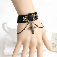 Lolita Gothic Handmade Bronze Flower Rose Chain Cross Drop Black Ribbon Bracelet Wristbands Vintage Retro Fashion Accessories