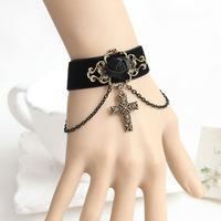 Lolita Gothic Handmade Bronze Flower Rose Chain Cross Drop Black Ribbon Bracelet Wristbands Vintage Retro Fashion Accessories