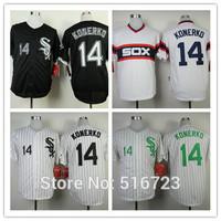 Free Shipping Mens Baseball Jerseys Chicago White Sox #14 Paul Konerko black white Cool Base Embroidery logos US Size:48-56