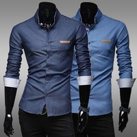 Features standard leather pocket washed cotton leisure men's long sleeved shirts