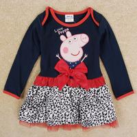 Free Shipping Retail 1 pcs New Design Peppa Pig Dresses Long Sleeve Girl's Dress Peppa Pig Girl Clothing Cotton Baby Girls Dress