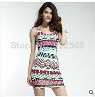 2014 summer new style fashion  print brilliant cut fashion bag hip dress multi color