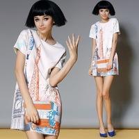 2014 Women's Summer Chiffon High-end European Fashion Printed bodycon Pencil Dress