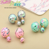 Vintage Multicolor Crystal Double Use Ball Stud Earrings Fashion Charm Jewelry For Women Gift Party Engagement Free Shipping
