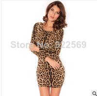 2014 new style long sleeve velvet crew neck Leopard print mini dress bag hip nightclub fashion dress party dress vestidos