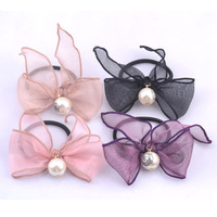 2014 new fashion girls beautiful bowknot Elastic hair bands with big Imitation Pearl,women fancy headwear accessories wholesale
