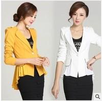 Autumn blaser feminino 2014 long sleeve slim chiffon pacthwork blazer mulheres swallowtail suits desigual jacket with pendant