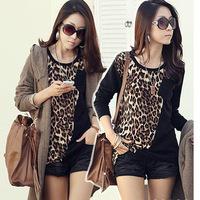 Hot Sale 2014 New Autumn women leopard blouse long sleeve o-neck cotton casual patchwork oncinha blouse shirt blusas plus size