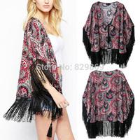 New Women Gypsy Bohemia Ethnic Kimono Floral Print Tassel Fringe Blouse Cardigan Tops
