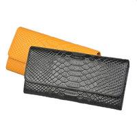 2014 Korean women leather wallet crocodile pattern leather wallet lady Long wallet card slit zipper pocket purse free shipping