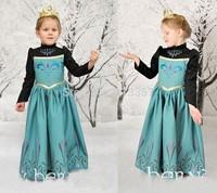 2014 antumn winter new Frozen anna elsa dress long sleeve cotton and silk tutu party dresses fantasia frozen christmas gift