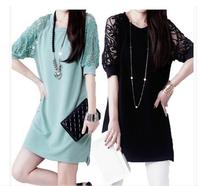 Large size women's 2014 summer new Korean chiffon strapless lace dress short sleeve Slim bottoming summer tide NZ421