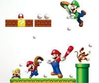 FREE SHIPPING Wholesale 2pcs/ lot Super Mario  Wall Stickers Large Size Carton Wall Decor