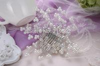 White Pearl Hair Comb Tiaras Crown with Rhinestone Bridal Hair Wear Bridal Hair Jewelry Decoration