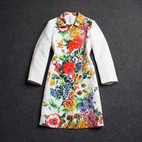 2014 fall winter jacquard cotton floral print turn down collar windbreaker women's high quality long design coat free shipping