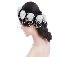 White Pearl Hair Comb Tiaras Crown with Rhinestone Bridal Hair pins Wear Bridal Hair Jewelry Decoration