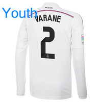 Youth Top Quality 14/15 Real Madrid Long Home Jerseys #2 Raphael Varane White shirt Kids 14/2015 Cheap Soccer Football kit