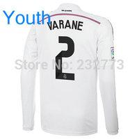 Youth Top Quality 14/15 Real Madrid Long Home Jerseys #2 Raphael Varane White shirt Kids 14/2015 Cheap Soccer Football kit