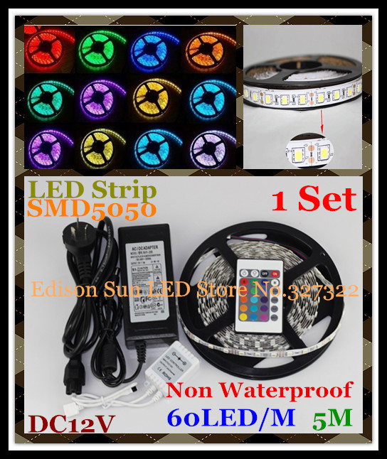 Free Shipping 5M 300 LED RGB strip SMD 5050 60 LED / M 12V Flexible Non Waterproof Strip light with IR Remote + 5A Power Adapter(China (Mainland))
