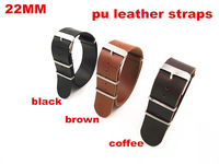 2014 New arrived 10PCS/ lots High quality 22MM PU leather nato straps Watch band  watch strap black ,brown,coffee color