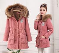 Free Shipping   2014 new winter coat jacket wholesale women's hooded long section of Korean women cotton padded  YBZ018