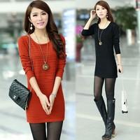 2014 autumn winter slim women's clothes long sweater shirt o-neck sweater dress cardigan new fashion plus size 3XL