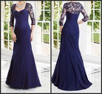 Hot Sale Chiffon Royal Blue Women Elegant Lace Long Formal Evening Dresses Mermaid Prom Gown Sleeves Vestidos De Festa 2015